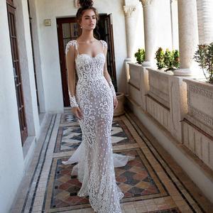 Zh3922g Berta 2019 Wedding Dresses Mermaid Sweetheart Applique Pearls Long Sleeve Sweep Train Plus Size Bridal Gowns Beach