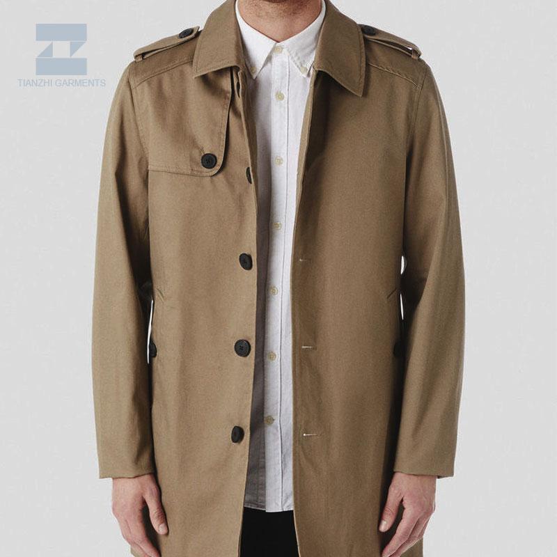 Personnalisé longue marron tranchée manteau pour hommes