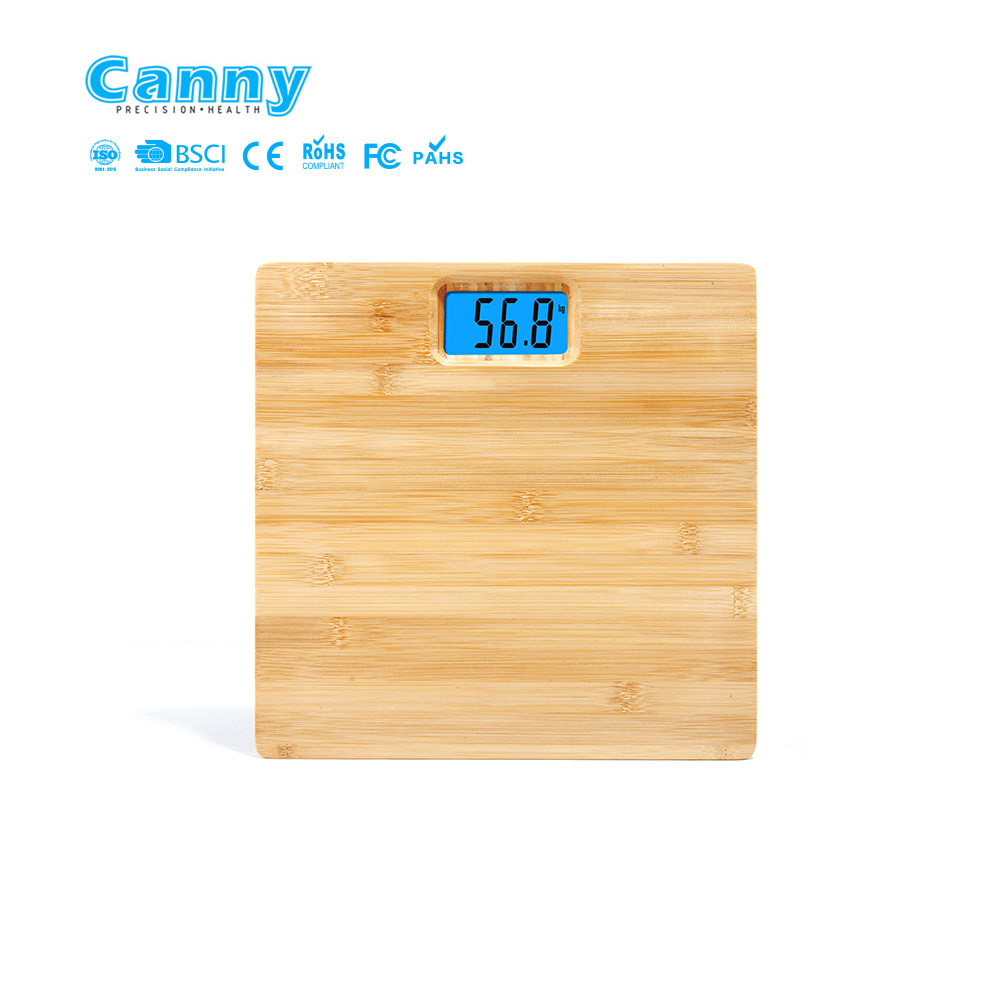 Eco-friendly and durable real bamboo digital scale  180kg step on technology 0.1kg increment