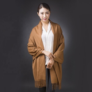 100% pure cashmere water ripple scarves ladies autumn winter thickening warm pure color long dual use women scarf shawl