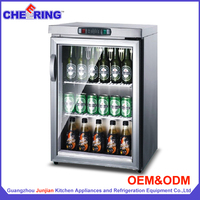 TG-90 single temperature type OEM bar equipment stainless steel commercial cold cabinet table top mini fridge for beer display
