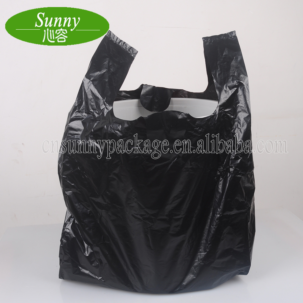 Factory Wholesale 100% Biodegradable Black T Shirt Plastic Garbage Trash Bags In Packing Cheap