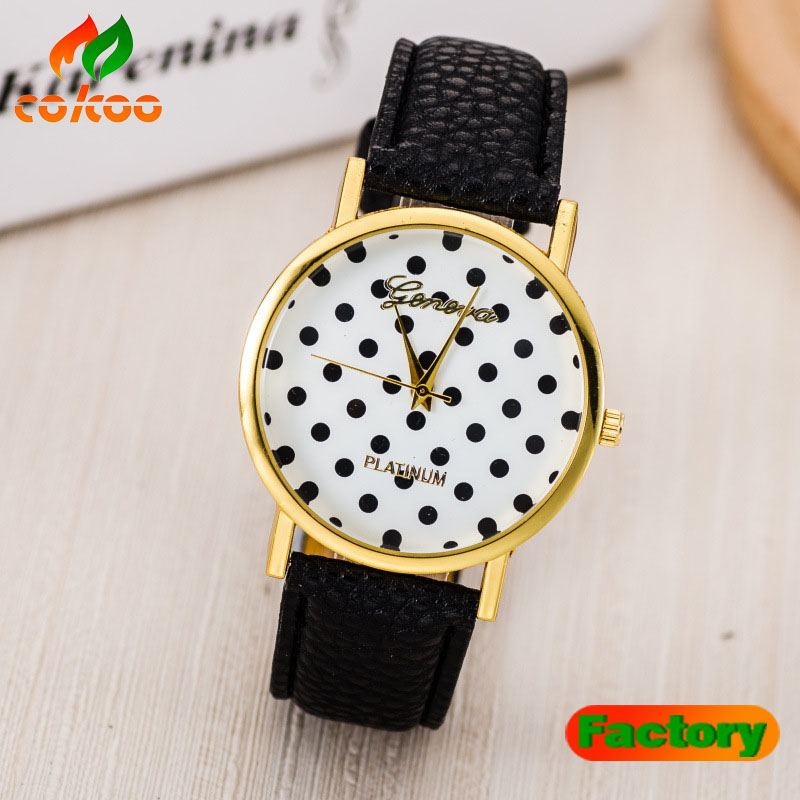 Original fashion multi color polka dot print watch leather watch hot selling quartz casual watch relojes Geneva