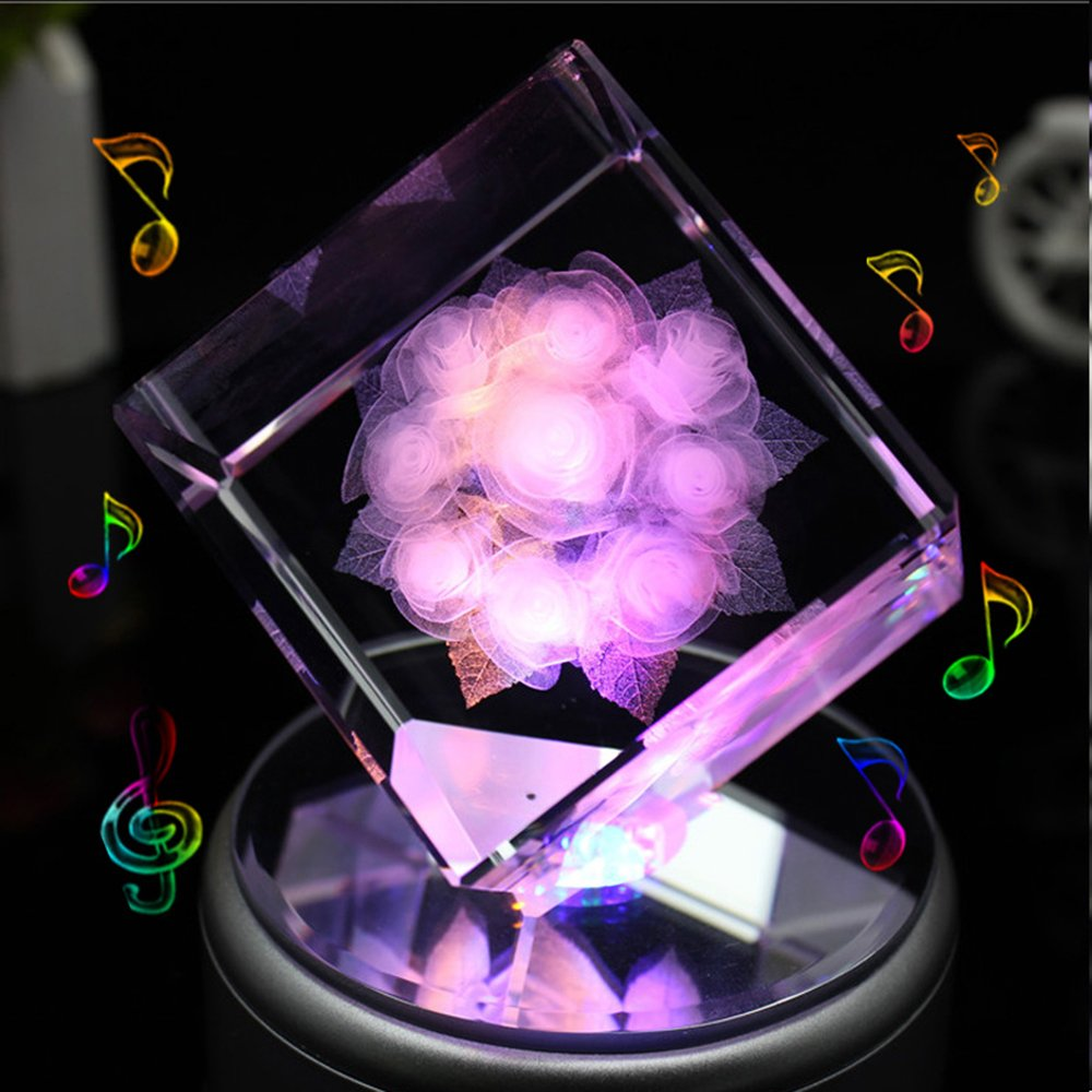 LIWUYOU Rotating Musical Box Square Crystal 3D Rose Flower Colorful LED Light , Rose, Music Base