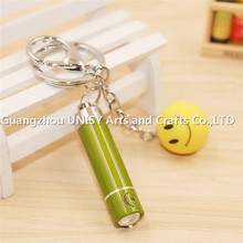 Hot sale Mini Smile face flashlight keyring , Battery Powered Flashlight, metal smiling face key chain holder wholesale
