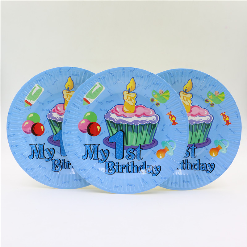 New Design 1st Birthday Party 7inch Paper Plate For Baby Boy 1 Year