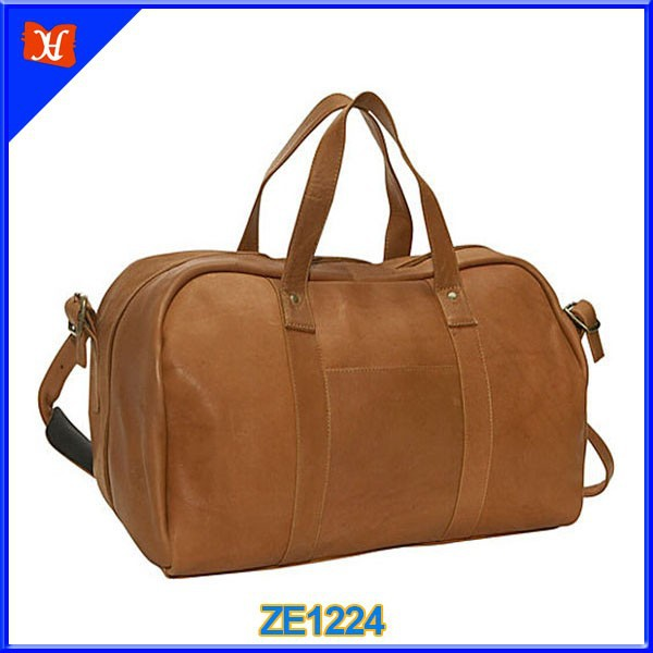 Luxurious full grain cowhide leather carry-on travel bag, leather travel bag for men