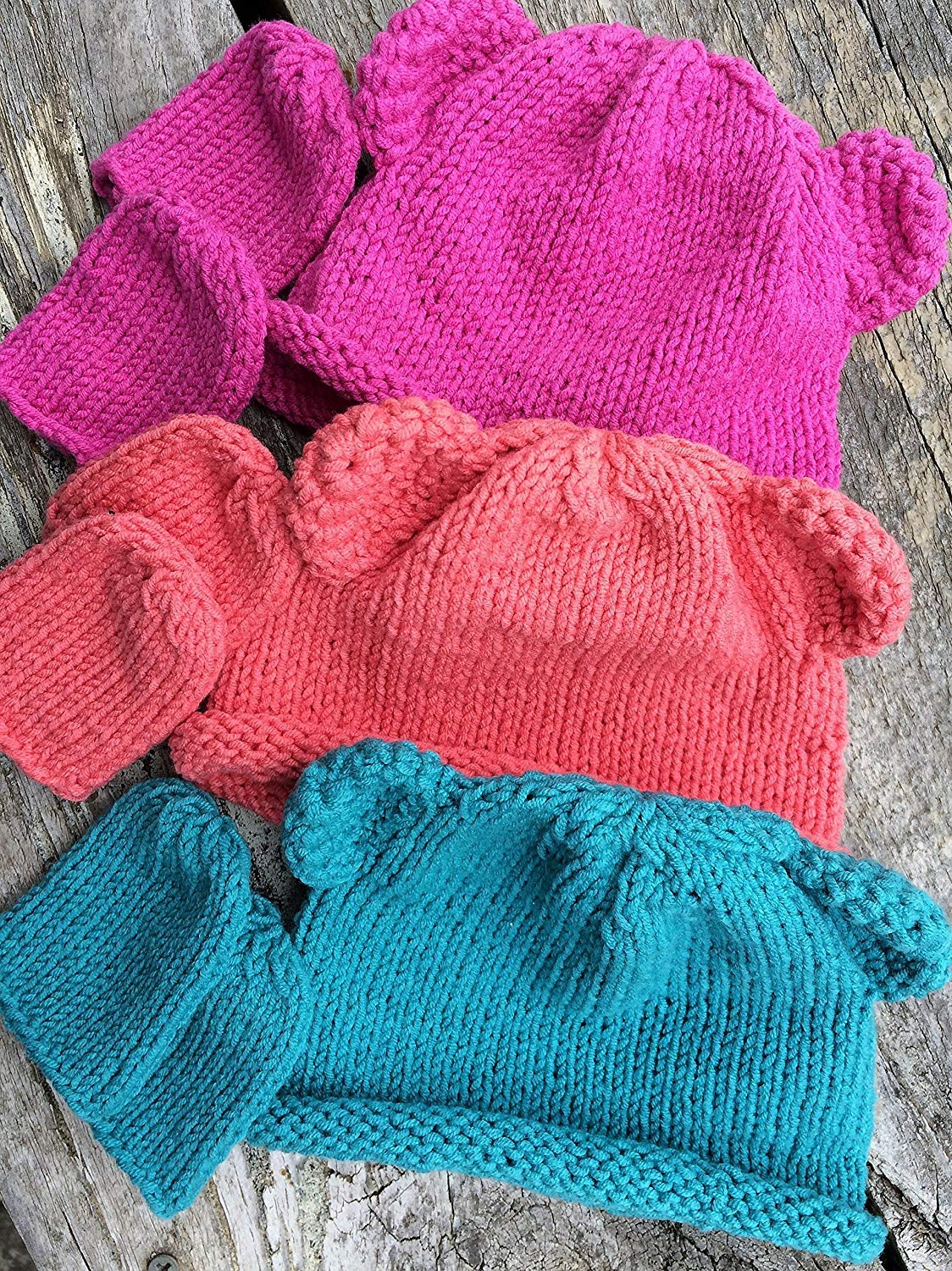 Hand Knitted Soft Baby Beanie Hats and Mitts Teddy Bear Beanies for Babies 0-6 months