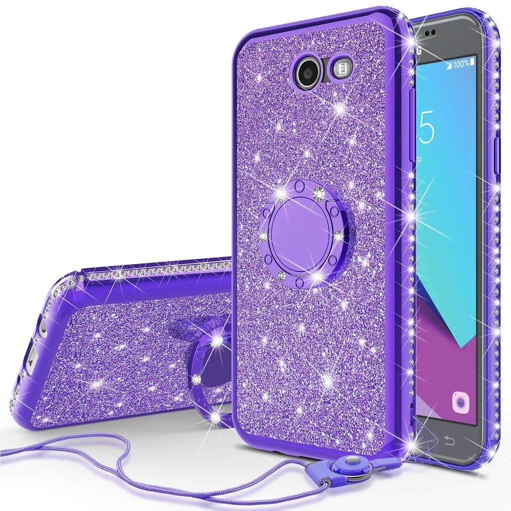 Compatible for Samsung Galaxy J3 Eclipse/J3 Mission/Galaxy J3 Emerge,Galaxy J3 Prime 2017/Galaxy Luna Pro/Galaxy Sol 2/Amp Prime 2 Case Rhinestone Glitter Diamond Cover with Ring Stand - Purple