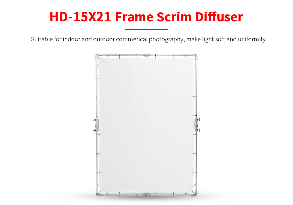 JINBEI HD-15x21 1.5x2.1m HD Frame Scrim Diffuser Photographic Transparent Board for Studio Commercial Portrait Photography