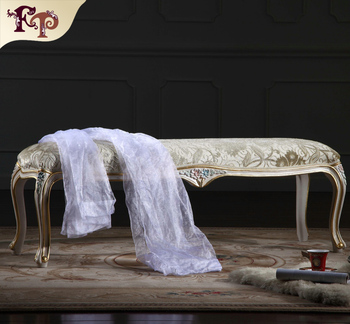 Europe French Style Mirrored Bedroom Furniture   Baroque Hand Craft Antique  Bed End Bench