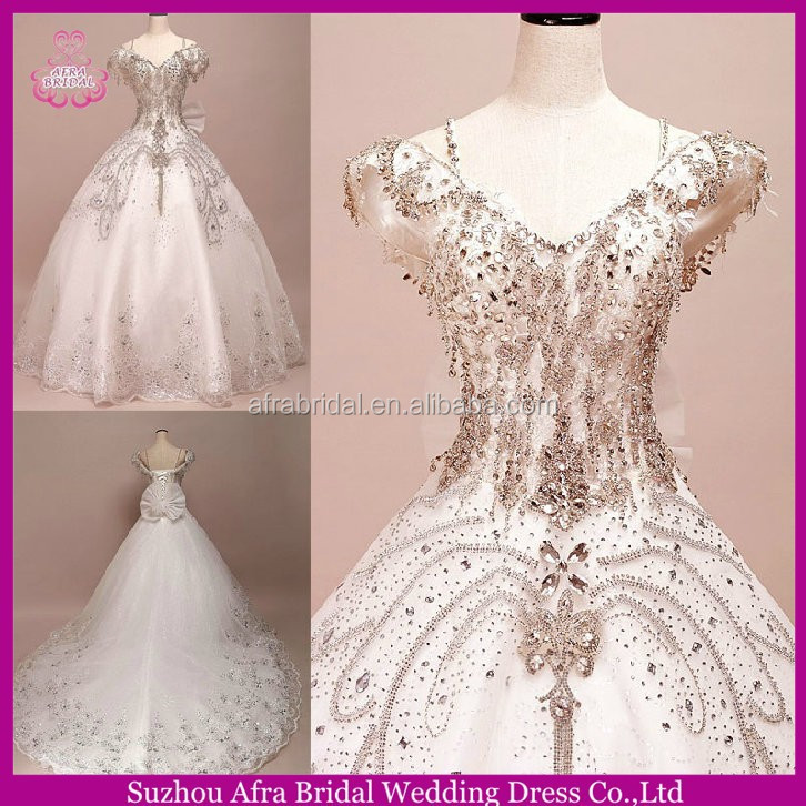 SW637 off shoulder spaghetti strap heavy beaded wedding dresses with long trains
