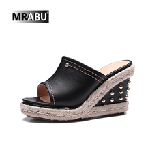 black white gnuine leather fashion rivets 9cm small size 32 32 large size 42 43 wedge platform slippers ladies heel shoes wedges