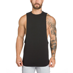 Custom logo tank top wholesale bulk black cotton mens stringer gym singlet