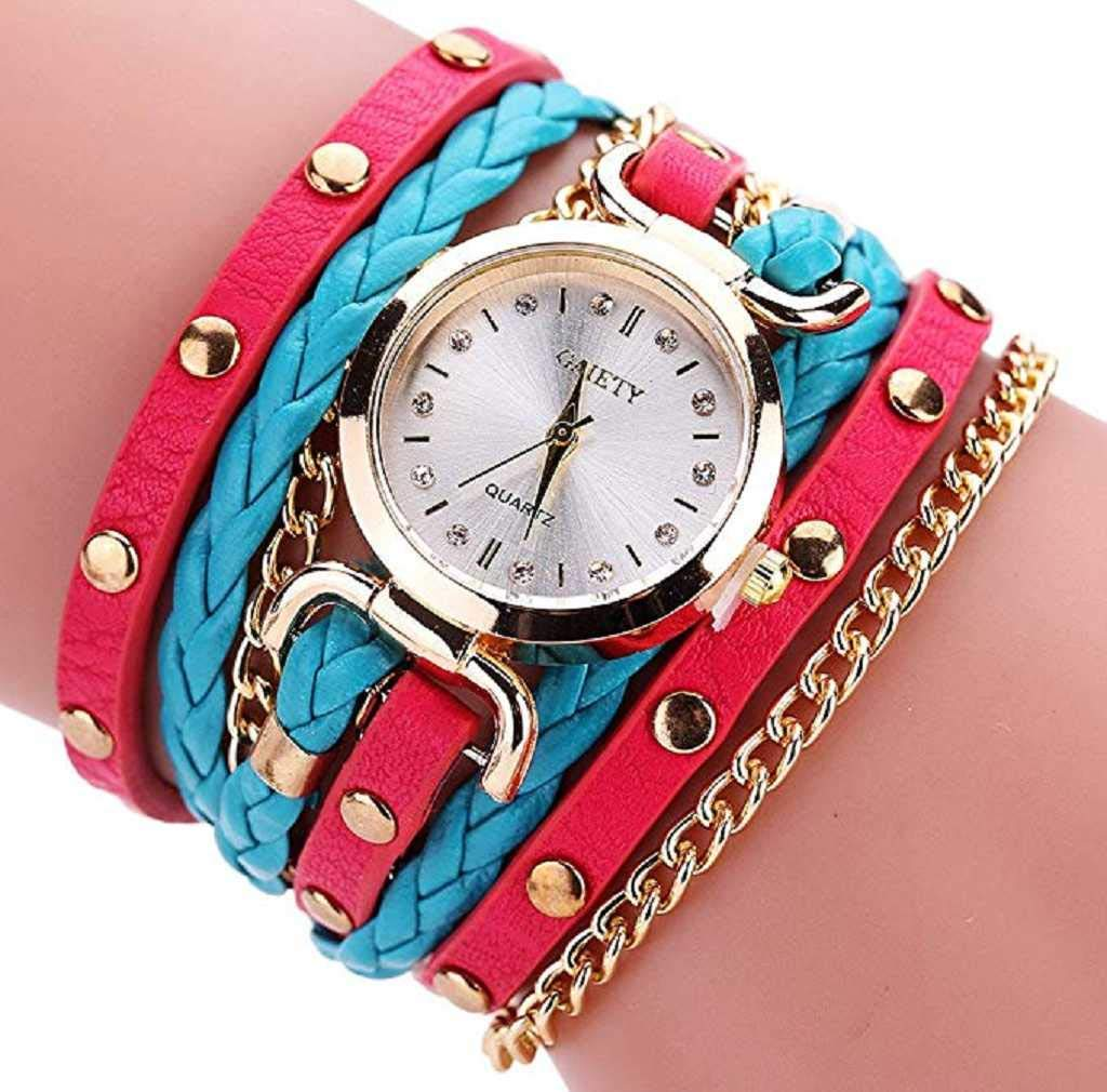 Clearance Sale! Womens Watches,ICHQ Small Table Twist Rivet Leather Bracelet Quartz Watches on Sale Clearance Lady Watches Female Watches Cheap Watches for Women (D)