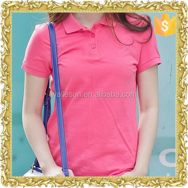 Most popular organic cotton factory women pink polo shirts