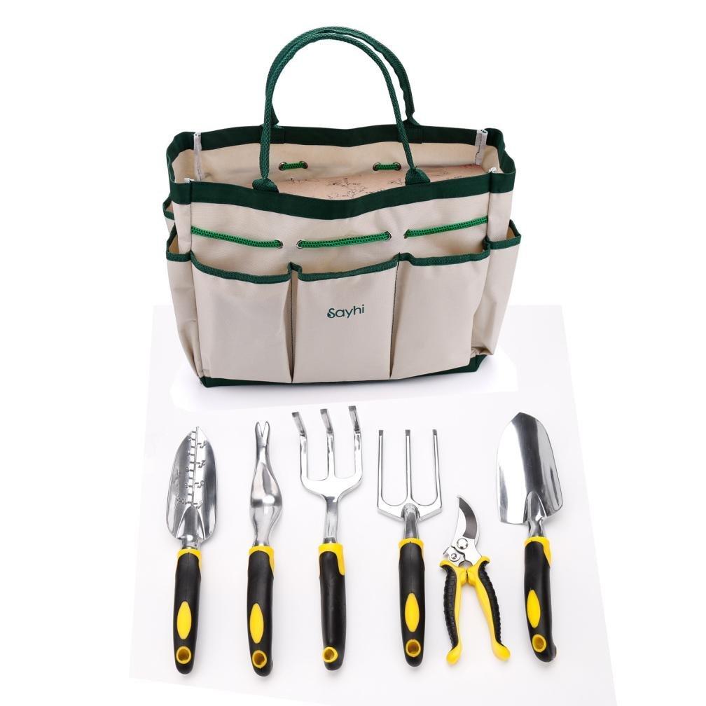 Garden Tool Set ,Hmlai@ Aluminum 7 Piece Portable Garden Tool Set Includes 6 Tools Weeder/ Trowel /Cultivator /Transplanter /Weeding fork /Pruner/Tool Bag