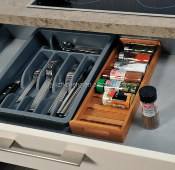 Bamboo Kitchen Drawer Spice Rack In Drawer Organizer For Jars Of