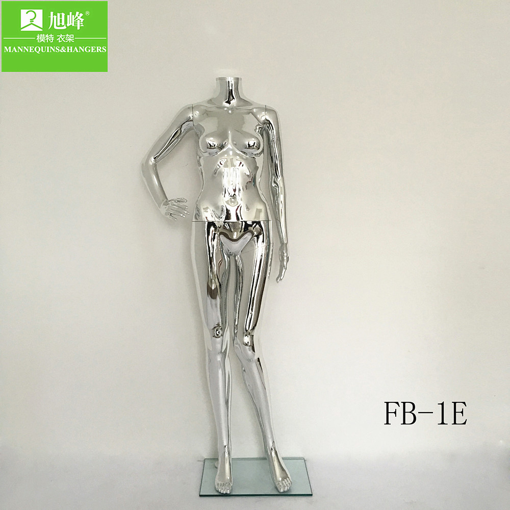 New fashion headless plastic chrome silver mannequin for women clothes display