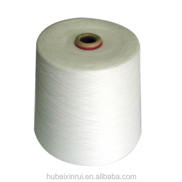 polyester staple fiber raw white yarn 502 virgin bright no semi dull