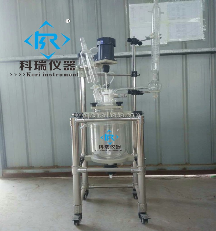 5L Pharmaceutical Hydrolysis glass Jacket heating reactor with Teflon Stirrer