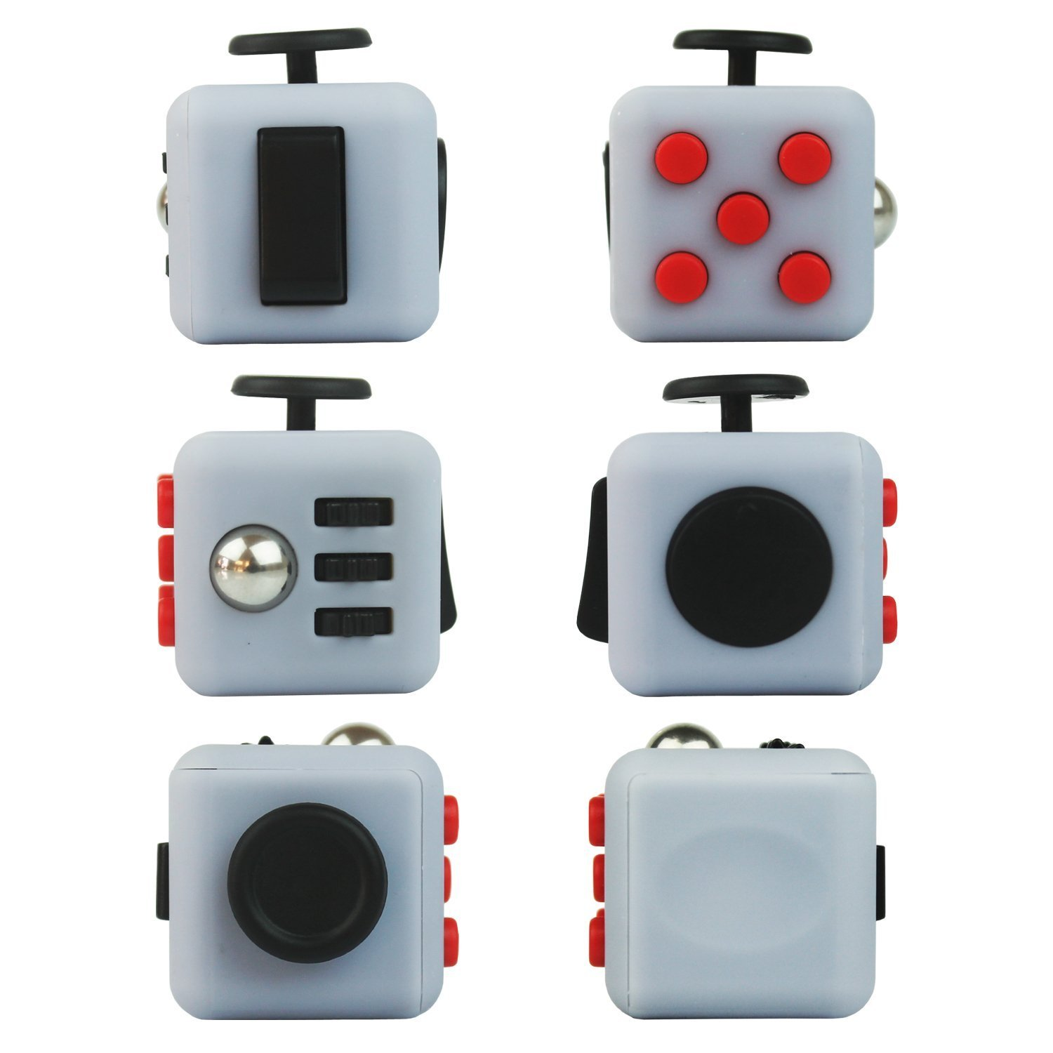 Fidget Cube Reduce Stress Help Focuse Anti-Stress/Anxiety (Gray/Black/Red) Work Class Home)