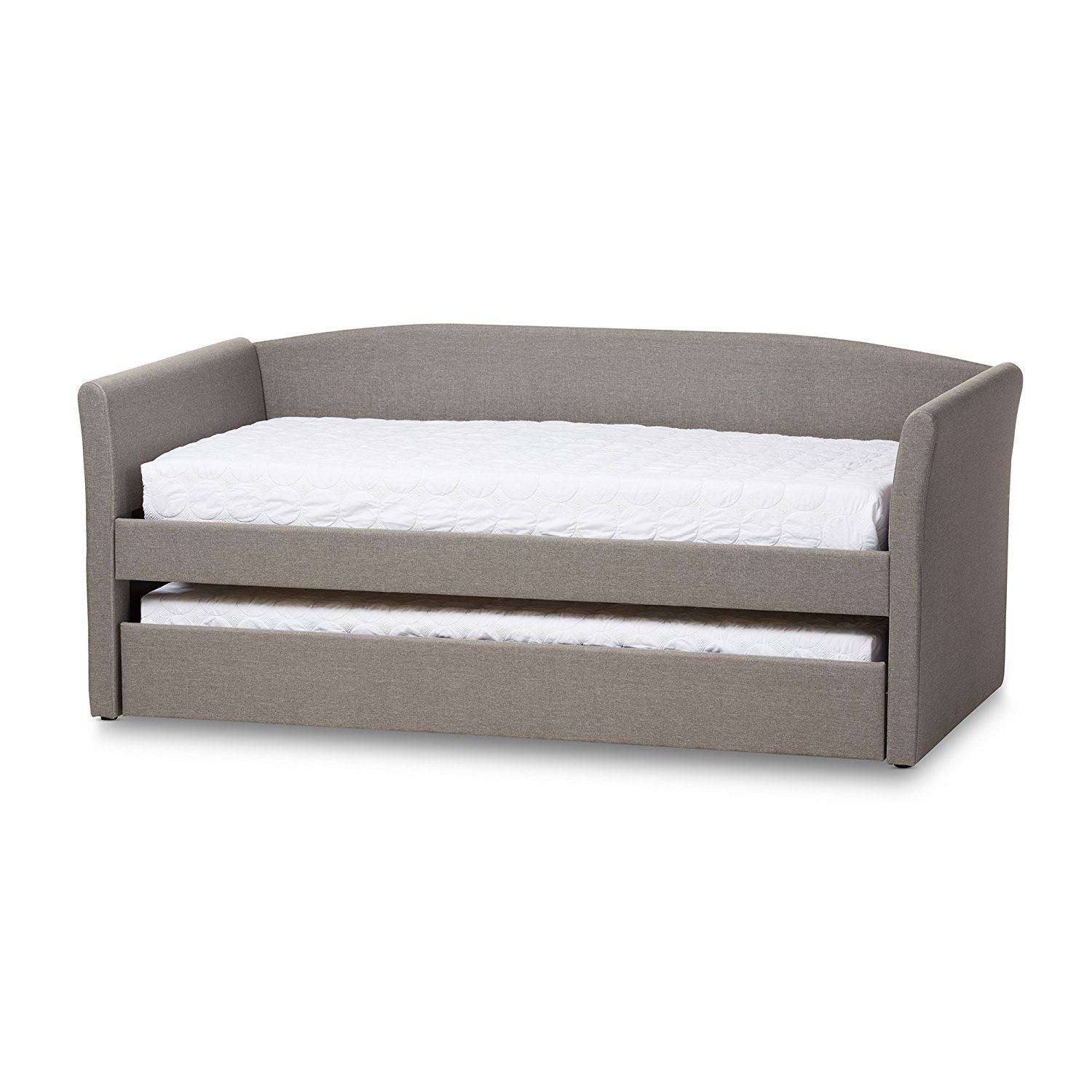 Baxton Studio Caroline Fabric Upholstered Daybed with Guest Trundle Bed, Twin, Grey