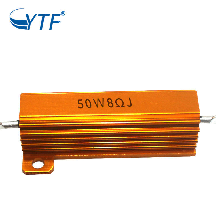 50w 8r Encased Wire Wound Resistor Case Golden Aluminum Shell <strong>Resistance</strong>