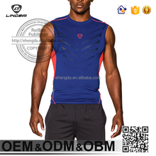 Men's Blue and Yellow Polyster Fitness Elongated T shirt Wholesale