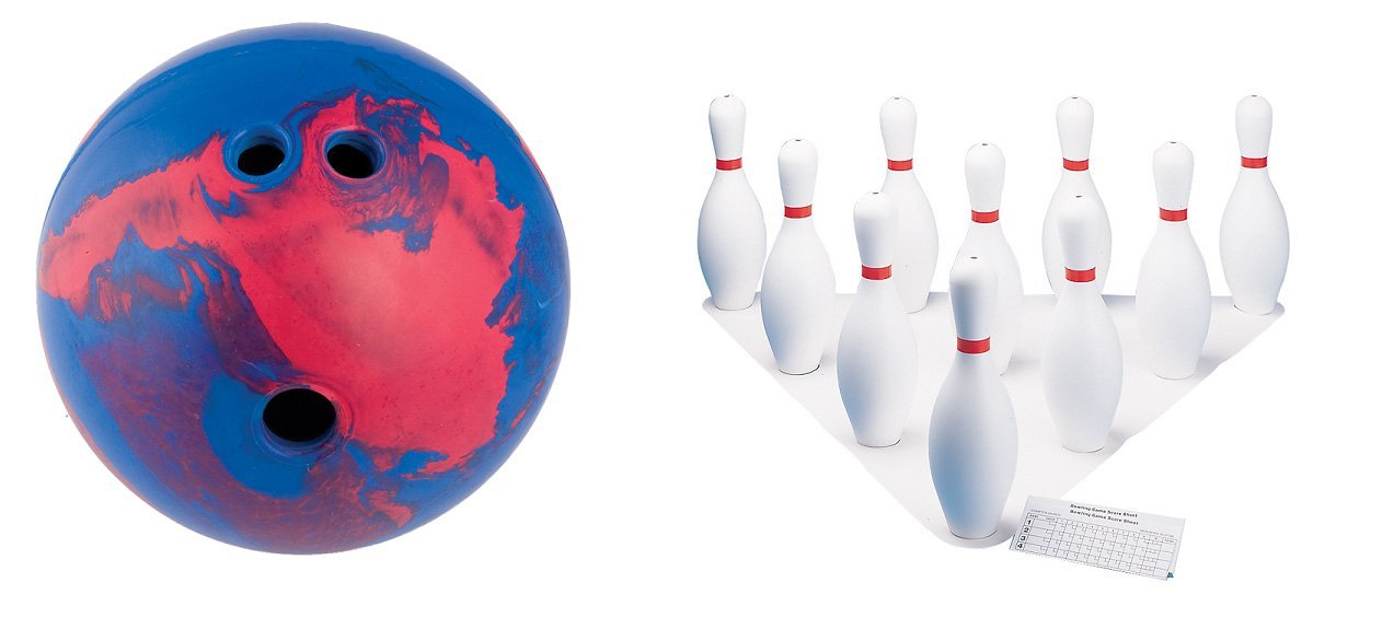 Plastic Balls /& Pins Set for Training /& Kids Games BBMSET Champion Sports Mini Bowling Set