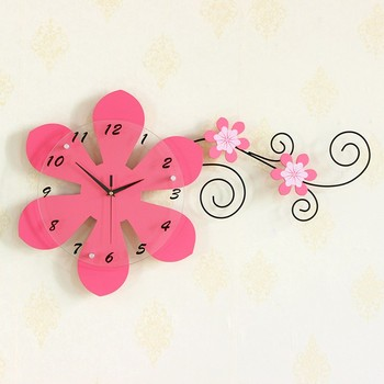 Wholesale Clock Wood Handicraft Flower Shaped Creative Cheap Large