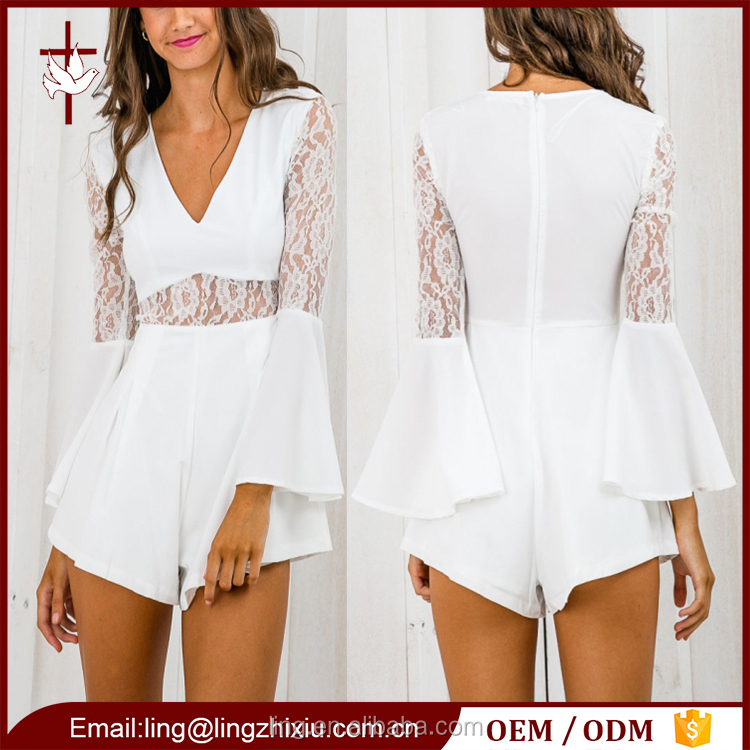 Summer clothes plain white long sleeve romper womens playsuit