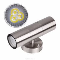 Waterproof Stainless Steel Up Down LED Wall Light Fixtures IP65 Double Wall Lamp Outdoor Lighting GU10 Socket AC 85-265V