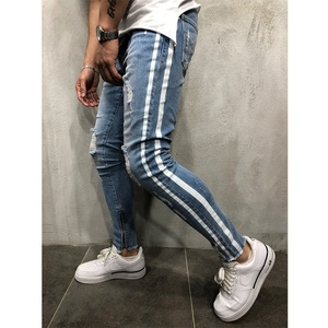 Wholesale Mens Slim Fit Denim Distressed Ripped Side Stripe Jeans Pant Latest