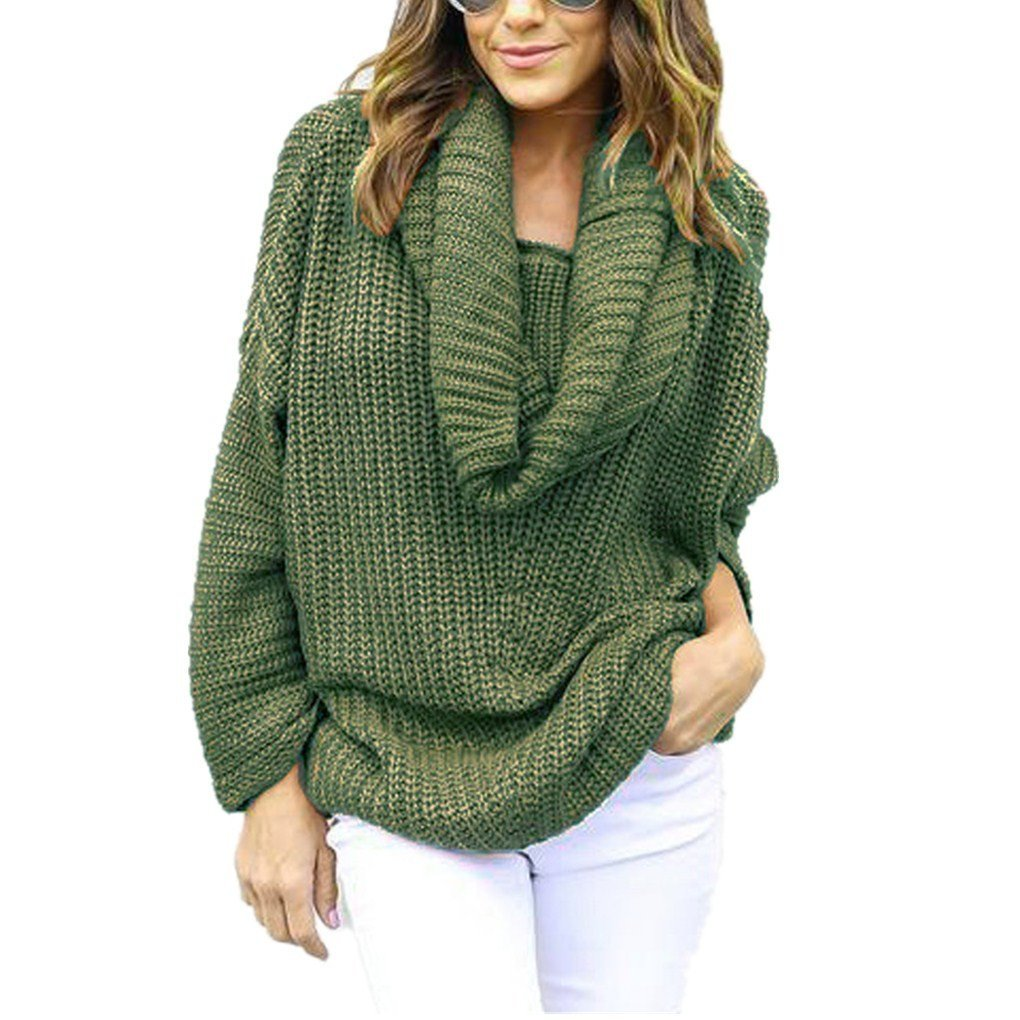 Women Blouse,Haoricu Fall Women Oversized Batwing Sleeve Turtleneck Knitted Sweater Tops Loose Cardigan Outwear (Free Size, Army Green)
