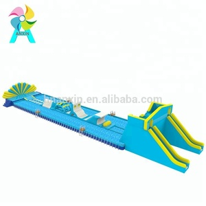 adult inflatable water park with water obstacles games on frame pool