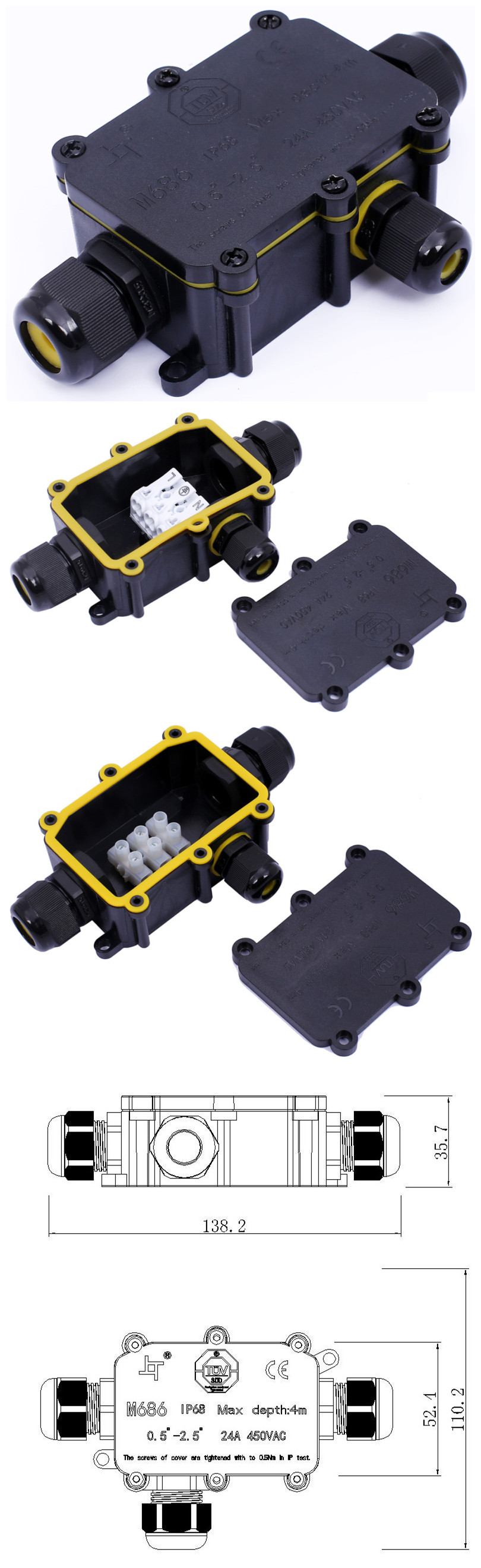 IP68 High Level Plastic Terminal Block Box Explosion Proof Terminal Distribution Junction Box