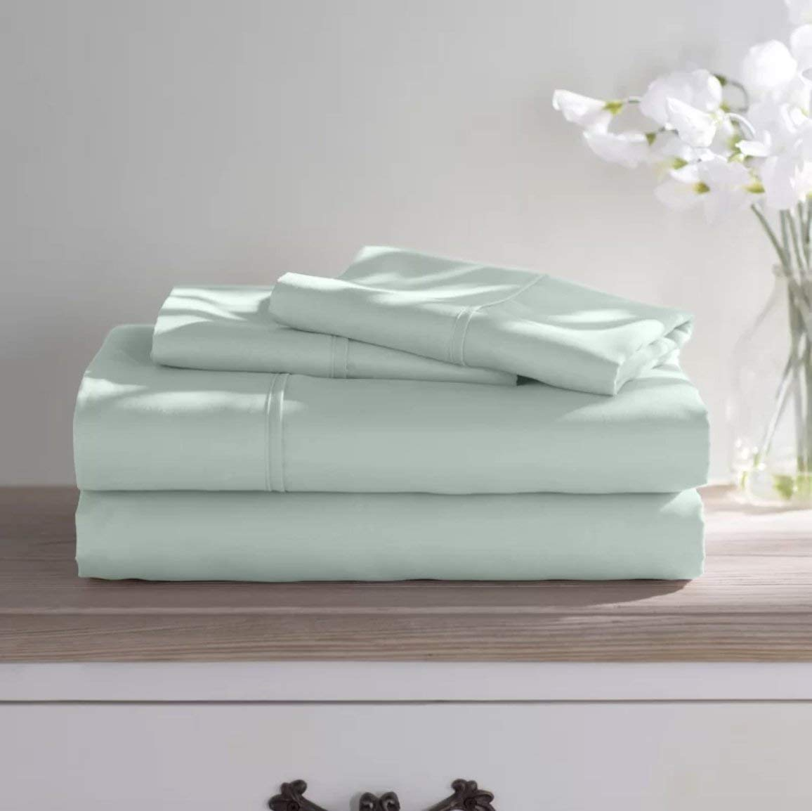 Bed Bath Fashions Premium Dorm Room 1800 Series Double Brushed Microfiber Sheets 3 Piece Sheet Set Twin Extra Long XL - Ultra Soft College Bedding Hypoallergenic and Wrinkle Free (Mint)