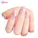 A18 wholesale 24pcs/box DIY japanese 3d fake nail pink long style full cover press on back glue artifical false nail tips