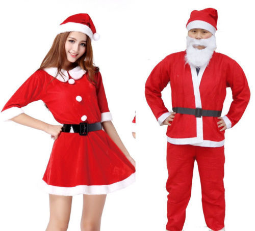 get quotations womens mens christmas clothing red santa claus cosplay set xmas party warm fancy dress costumes clothes