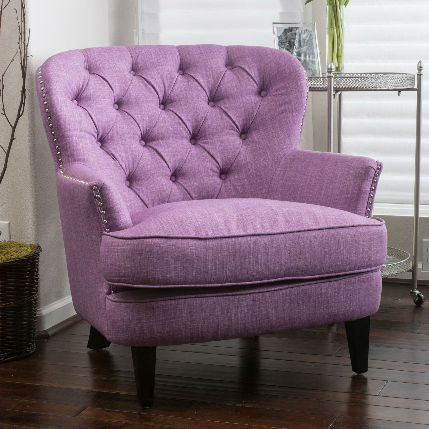 This High Back Club Chair Is A Modern Living Room Must. Features A Purple  Upholstered