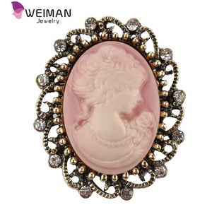 Wholesale 12 Pieces / Pack Antique Vintage Style Cameo Brooch Pins