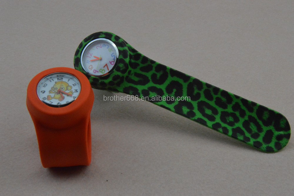 popular cheap silicone slap watch with printing logo for sports wrist watch
