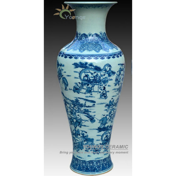 1 Meter Tall Blue White Porcelain Antique Le Glazed Floor Flower Vase With Kids Design