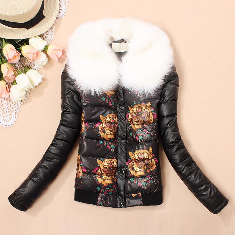2015 женщины зима пуховик и пальто белый большой меховой воротник женский печать тонкий утолщение мода ватные женщины парка куртки женские пальто женское куртка женская