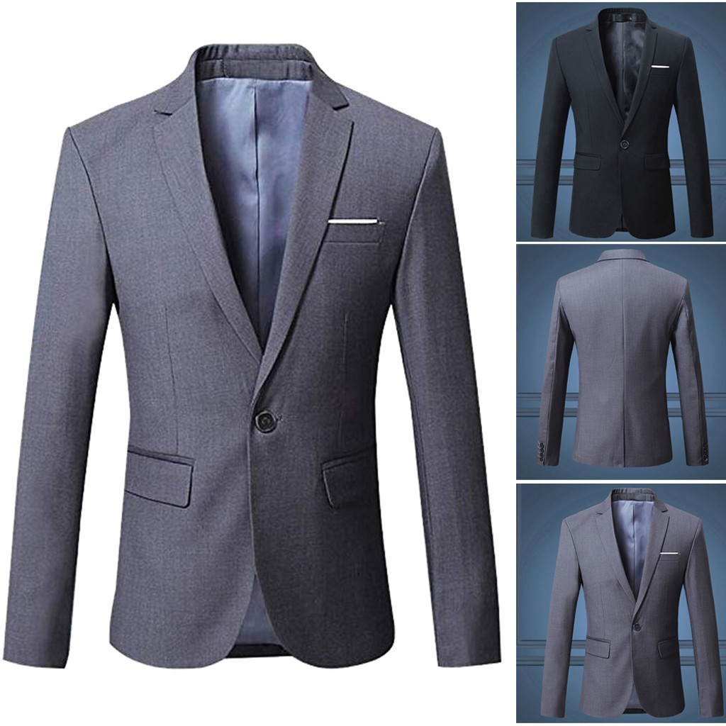 b147f6c31dceb3 Men Blazer Slim Fit Casual One Button Blazer Jacket Coat For Man Please  check the Size Chart before order. If you are not sure the size, please  send message ...