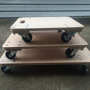 2018 Wooden four wheel platform moving dolly trolley