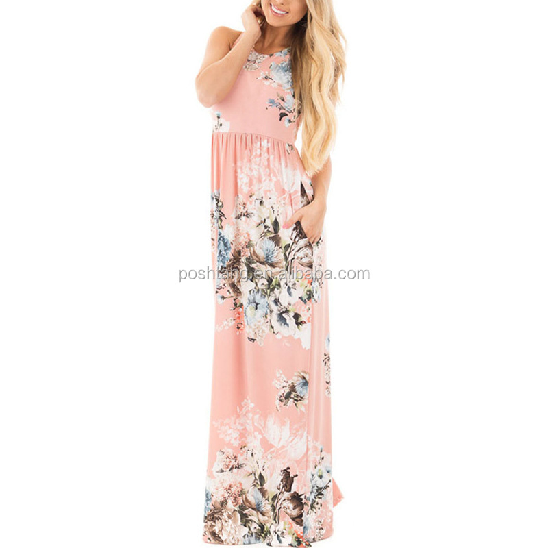 RTS Wholesale Fashion Women Loose Sleeveless dress summer lady Floral Maxi Dress, Picture