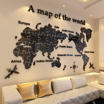Hot sale mirror sheet colorful world map wall sticker buy mirror hot sale mirror sheet colorful world map wall sticker gumiabroncs Gallery