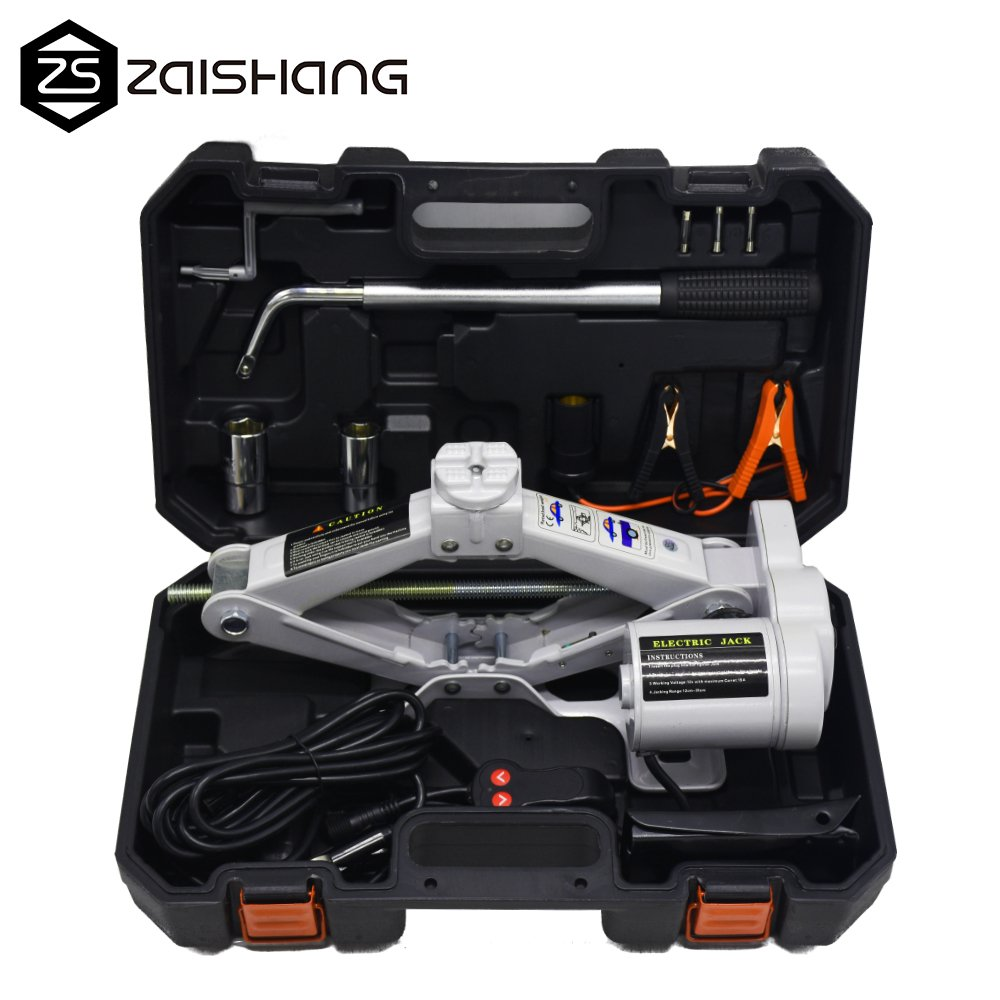 ZS Fully Auto Electric Scissor Car Jack with Wheel Nut Wrench Repair ChangingTools Kit 12V DC 2.5T(5500lb)